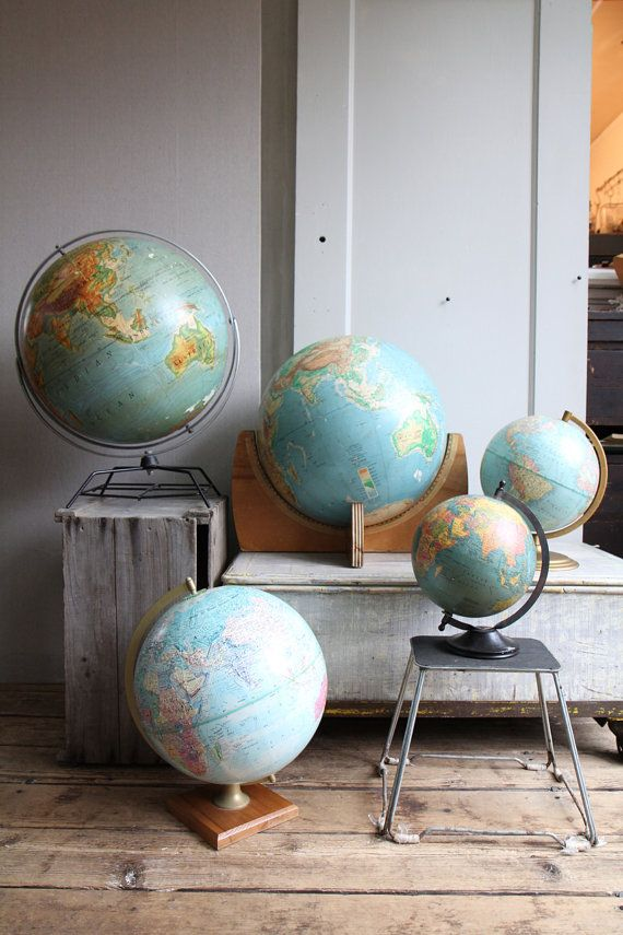 GLOBE~Simply gorgeous globes. I want one! I don't know what it is, but something about a globe intrigues me! How cool.