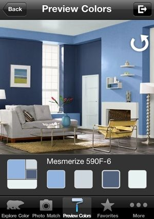 Free Paint App - download a pic of your room and preview color before you buy... Could've used this two months ago