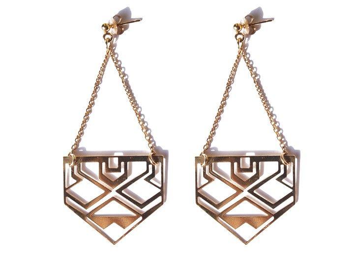 boucles ajourées Mini Inca - Bijoux laiton dore - Chic Alors Paris