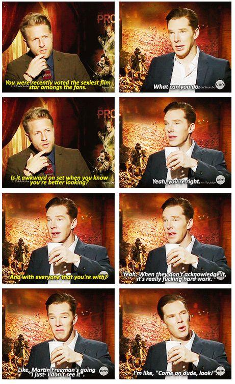 Benedict Cumberbatch & Martin Freeman :) Oh, so he wants Martin to find him sexy? Interesting.