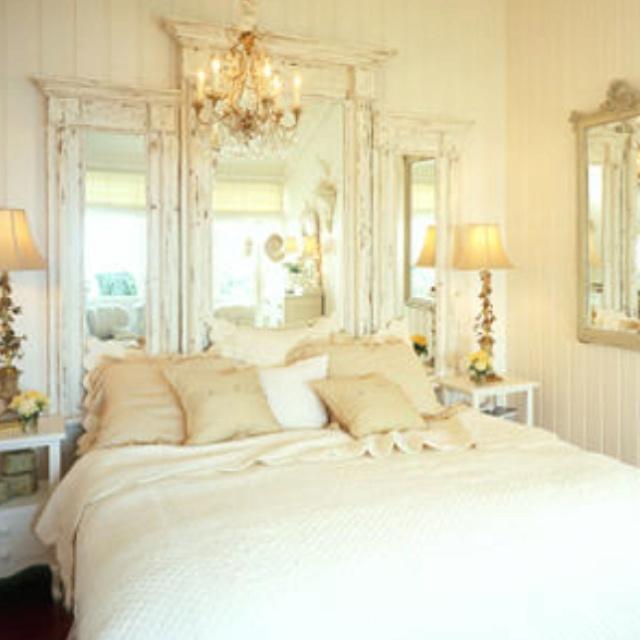 Diy Shabby Chic Bedroom: Chandelier And Mirrored Headboard