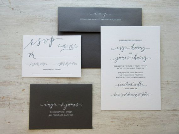 Modern Chic Calligraphy Letterpress Wedding by AngeliqueInk, $125.00