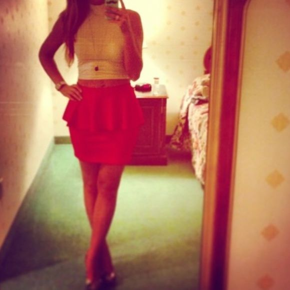 F21 red peplum skirt size M 17 inches long. 13 inches across waist laying flat. Forever 21 Skirts Mini