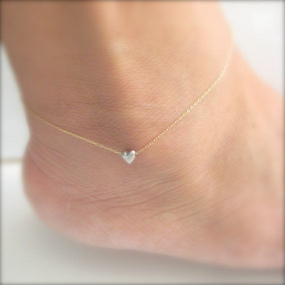Tiny Heart Anklet  A Little Love  Ankle Bracelet by onelifejewelry, Love this!