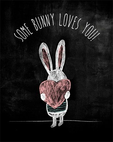 Some Bunny Loves You Digital Art Print Instant by TalkInChalk