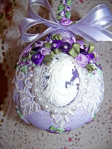 Victorian Christmas Ornament Cameo Venise Lace Lavender Roses Pearls Purple | eBay