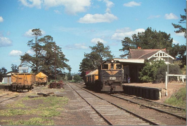 ROBERT WILSON PHOTOGRAPH -- In happier times Y137 sits at Yarra Glen station with its short goods train. 19 October 1979.