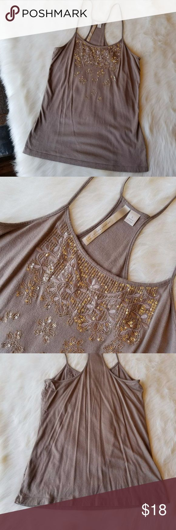 FREE SHIPPING LC Lauren Conrad Sequin Tank Top 21)Lc Lauren Conrad dark tan tank top. It is a racer back tee with embellished floral and sequins around the neck line Conditon: EUC  Size: SM   Make a reasonable offer or add to a bundle for a private offer!  I do not model, mannequin photo upon request. LC Lauren Conrad Tops Tank Tops