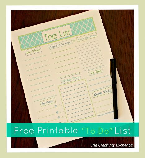 """Free Printable """"To Do"""" List... turn your todo list into a """"tada"""" list! Also has alot of other printables!"""
