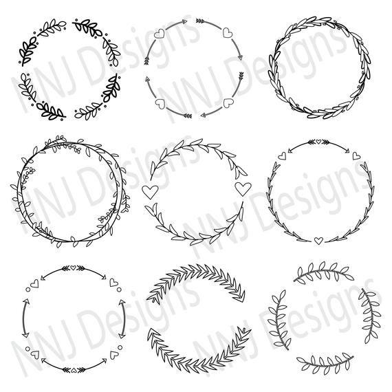 Laurel Wreath Outline Svg Bundle Round Circle Monogram Frame Leaves Hand Drawn Floral Heart Silhouette Cricut Digital Eps Pdf Dxf Png Svg In 2021 Monogram Frame Circle Monogram Circle Outline