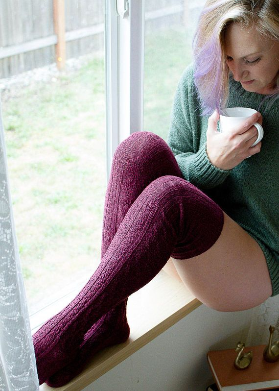eef887553aa Thigh High Socks Dark Red Wine Sweater Knit Women s Long Over the ...