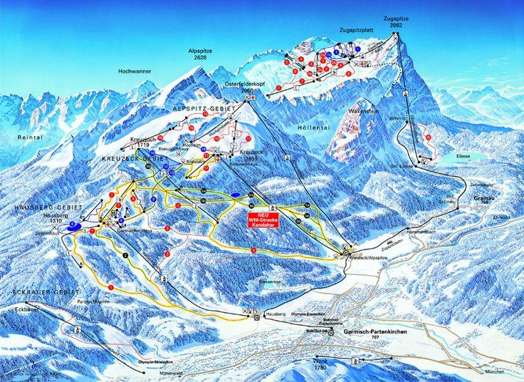 Garmisch-Partenkirchen-Zugspitze Piste Map / Trail Map snow-forecast.com