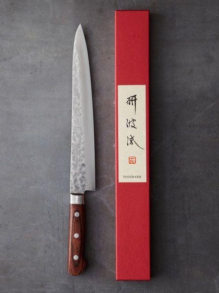"KORIN JAPANESE TRADING  Togiharu 9.4"" Hammered Damascus Sujihiki"