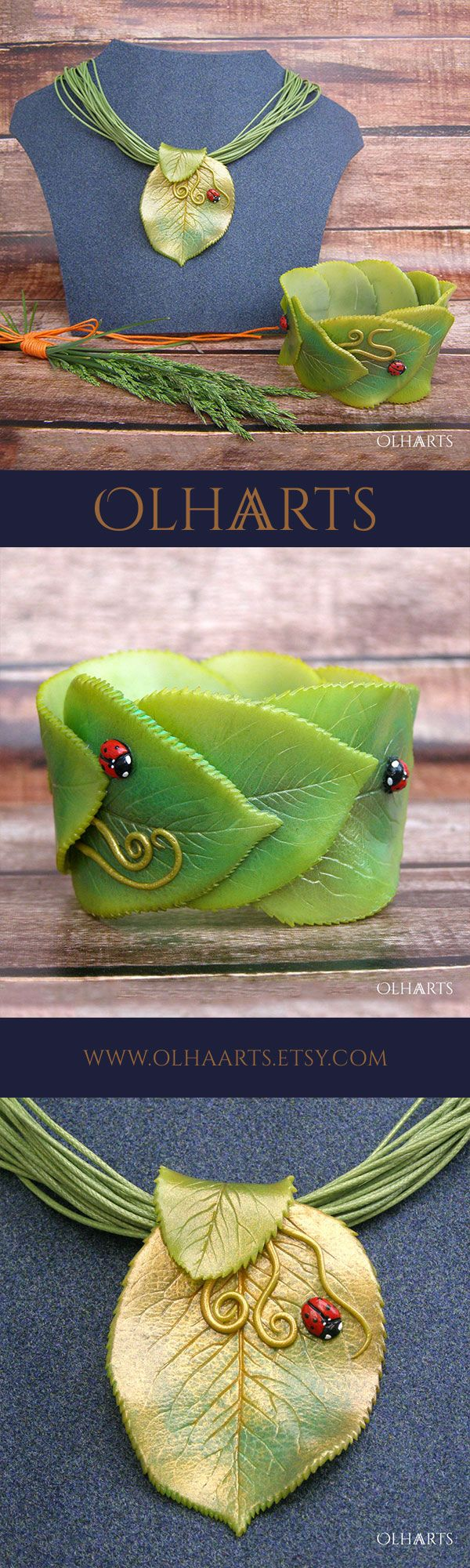 Gorgeous leaf green polymer clay bracelet! Love the way the realistic looking leaves are layered around the wrist and the tiny ladybugs bring a whimsical punch of color!