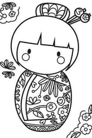Coloriage de poupée japonaise 3