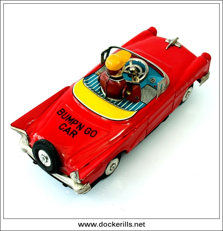 Bump'N Go Car, YOSHIYA, Japan. (Picture 3 of 3). Vintage Tin Litho Tin Plate Toy. Crank. Action - Mystery Action / Bump' N Go, driver moves and appears to be steering car. Photo in DOCKERILLS - TIN TOY REFERENCE - JAPAN - Google Photos