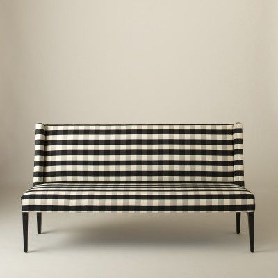bench, sofa, entryway, gingham, tartan, check