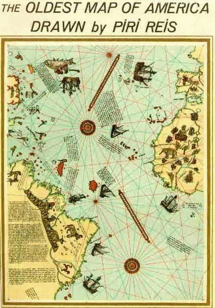 The Oldest Map Of America Drawn By a turkish sailer Piri Reis Centures Before Christopher Columbus