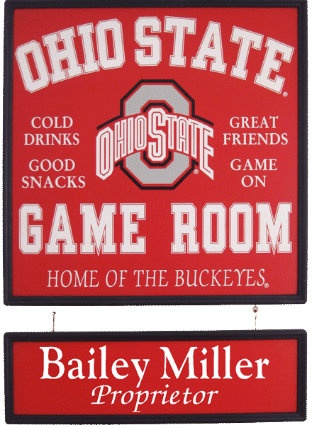 Personalized Ohio State Game Room Sign & Name Board - Buckeyes.