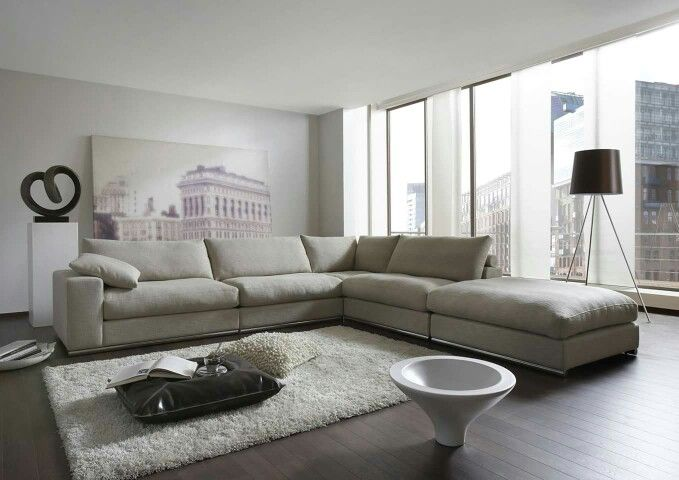Mooie living, grijze bank, donker bruine vloer