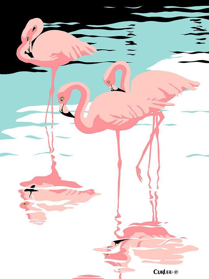 Flamingo Art - Pink Flamingos tropical 1980s abstract pop art nouveau graphic art retro stylized florida