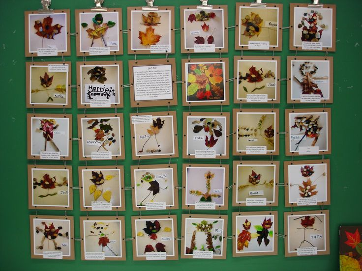 Quilt of leaf creations-great way to display photographs of children's work