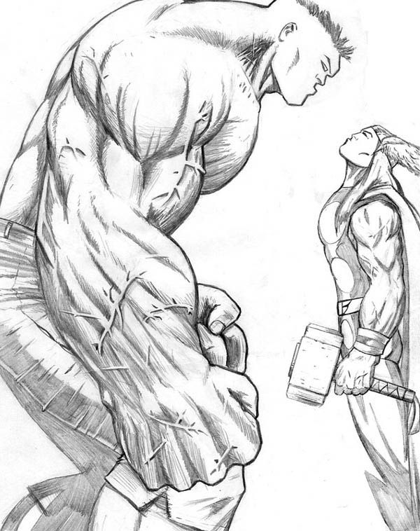 Thor vs hulk coloring page tattoo shit pinterest - Dessin de thor ...