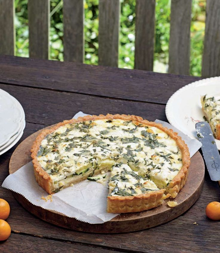 Zucchini, mint & goat's cheese quiche by Margaret Fulton from Baking | Cooked