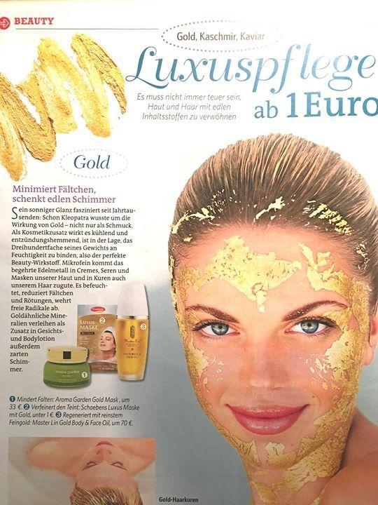 diese Woche in Bild der Frau wird die Gold Mask als Luxuspflege empfohlen..