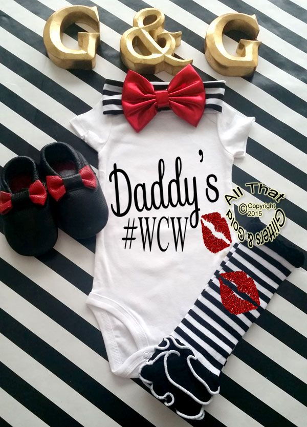 Black+and+Red+Glitter+Daddy's+#WCW+Baby+Girl+and+Little+Girl+Shirt