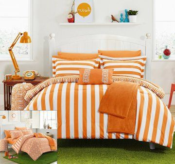 10 Piece Paris Reversible Geometric And Striped Full Orange Comforter Sheet  Set   Orange Bed