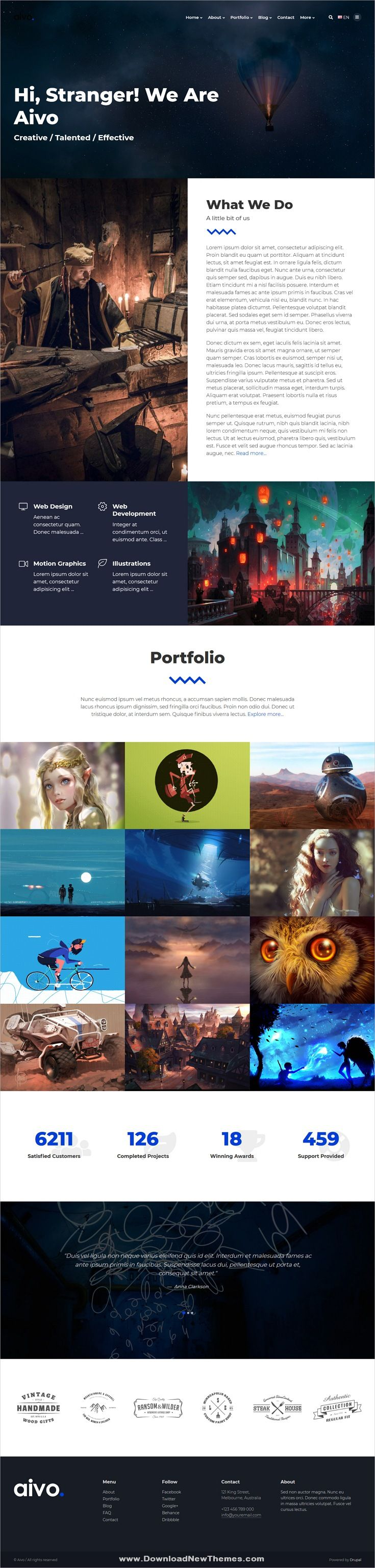 Aivo Is A Clean And Modern Design 6in1 Responsive Drupal Templates For Creative Freelancers Artists Design Agencies Beautiful Portfolio Showcase Website