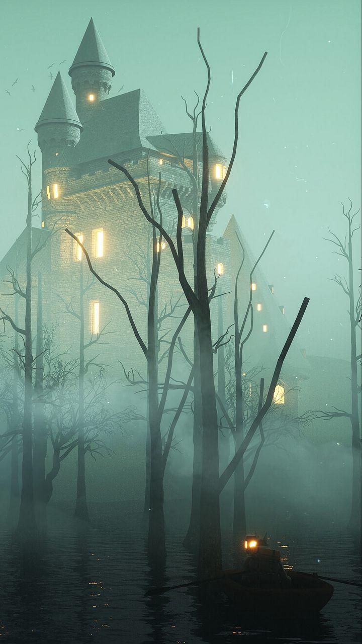 Скачать 720x1280 замок, туман, деревья, вода, лодка, арт ...