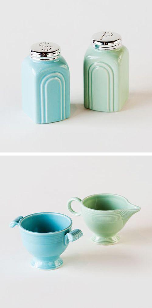 Retro Salt and Pepper Stoneware Shakers | dotandbo.com #DotandBoDream