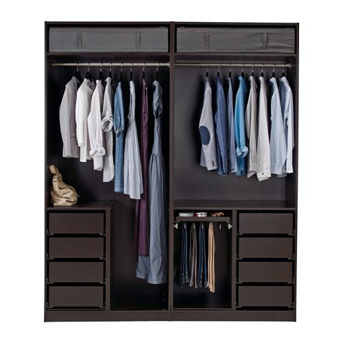 PAX Wardrobe, black-brown, Ilseng black-brown 200x66x236 cm soft closing damper