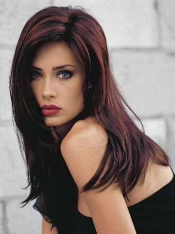 Dark hair with red highlights, love the color!