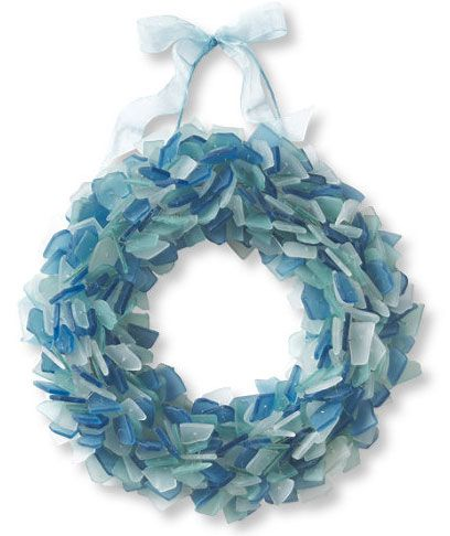 """L.L. Bean """"sea glass wreath"""" (it's just tumbled glass, but it's very pretty!) - I like the icy blue tones; a lot like winter without having to feel so cold $90"""