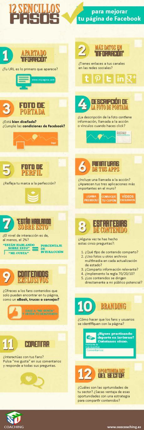 12 pasos para mejorar tu página de FaceBook #infografia en español. #CommunityManager