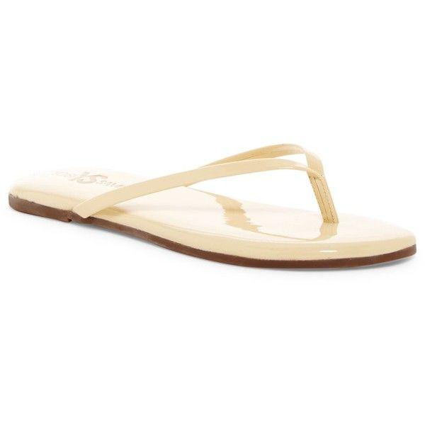 Yosi Samra Flip Flop ($25) ❤ liked on Polyvore featuring shoes, sandals, flip flops, biscotti, slip on flip flops, slip on shoes, slip-on shoes, yosi samra and yosi samra shoes