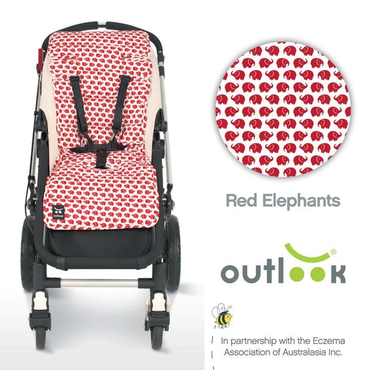 Outlook Cotton Pram Liner Red Elephants