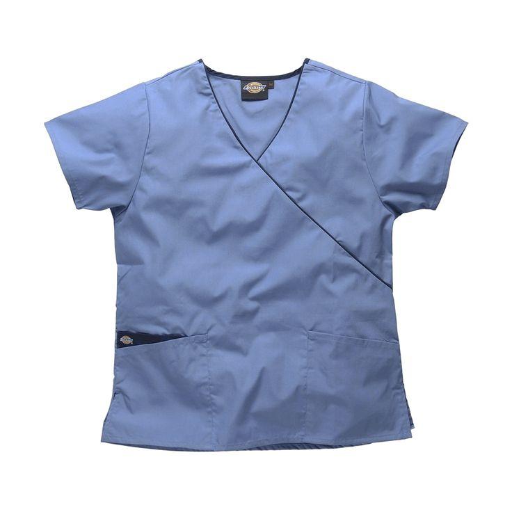 Light Blue Dog Grooming Clothes | Dickies Mock Wrap Scrub Top HC11601 | Dickies Ladies Workwear | – ClothesRack