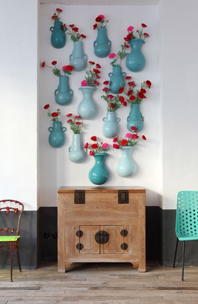 vazolar: Colors Combos, Wall Decor, Decor Ideas, Wall Vase, Aqua Wall, Blue Vase, Neat Ideas, Bedrooms Wall, Science Navon