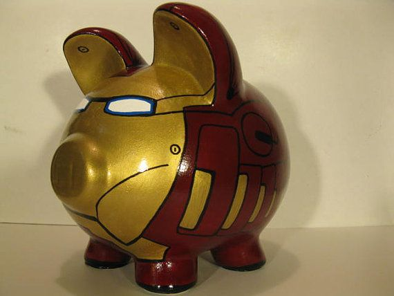 Robot Piggy Bank Inspired by Ironman Unofficial by PigPatrol, $52.00