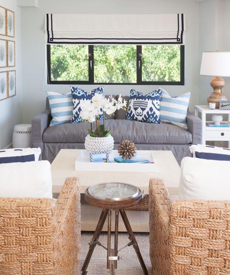 Coastal Living Room Mix Of Blues Roman Shade Living