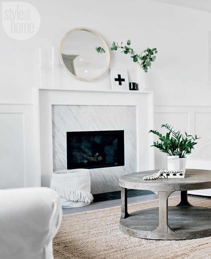 Marble Fireplace Rug: White Marble Fireplace Surround With Seagrass Rug