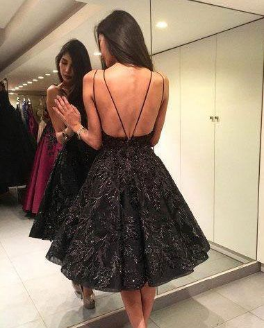 Sexy Halter Short Black Prom Dresses Homecoming Dresses