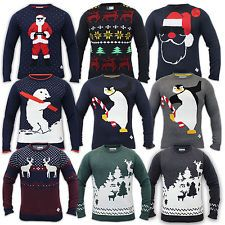 Mens Christmas Jumper Threadbare Knitted Snowman Reindeer Novelty Xmas Winter