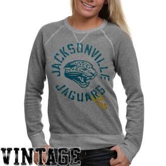Junk Food Jacksonville Jaguars Ladies Ash Vintage French Terry Raglan Pullover Sweatshirt (nfl)
