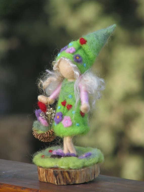 Spring elf ,  needle felted fairy decoration, waldorf inspired