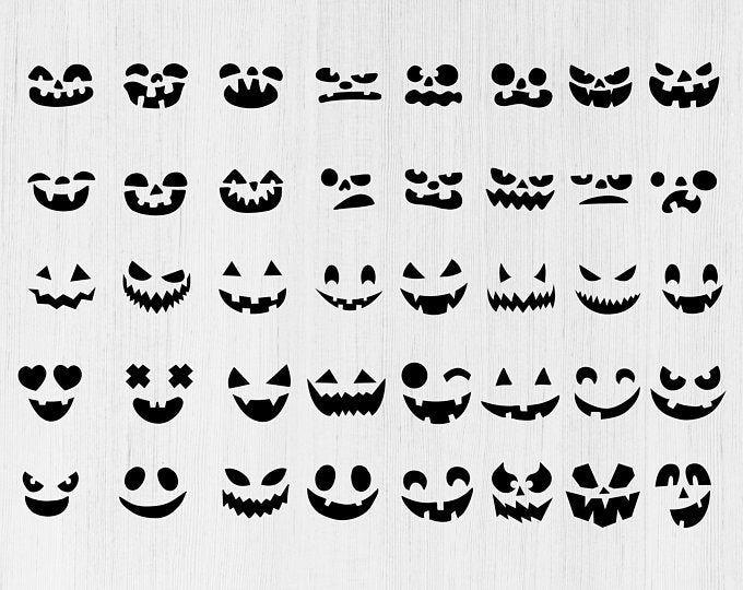 Pumpkin Face Svg Bundle Jack O Lantern Faces Png Bundle Cute Etsy Pumpkin Faces Jack O Lantern Faces Halloween Stencils